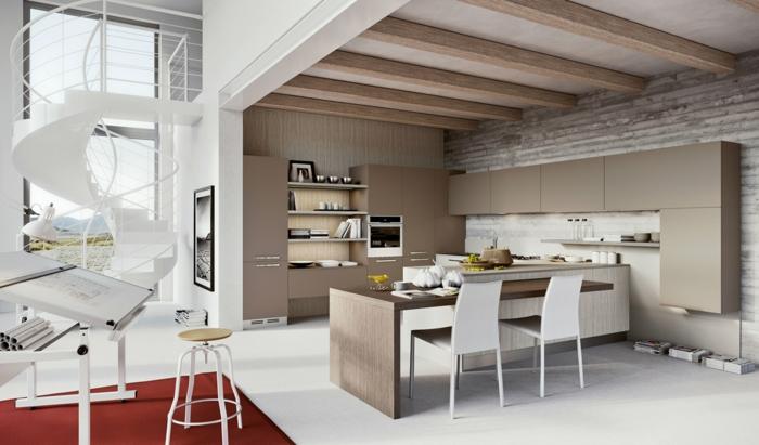 Salon-couleur-cappuccino-aménagement-tapis-rouge-escaliers-colimacon