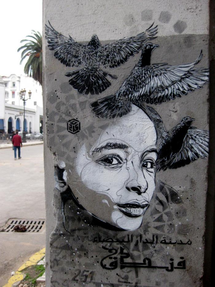 Street-art-paris-artiste-célébre-graffiti-femme-oiseaux