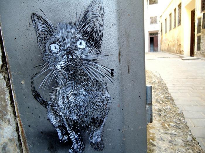 Street-artiste-rue-pochoiriste-C215-animaux-chat-noir-et-blanc