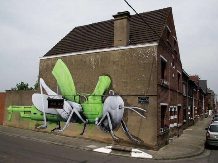 Tableau-street-art-de-Ludo-france-vert-noir-et-blanc