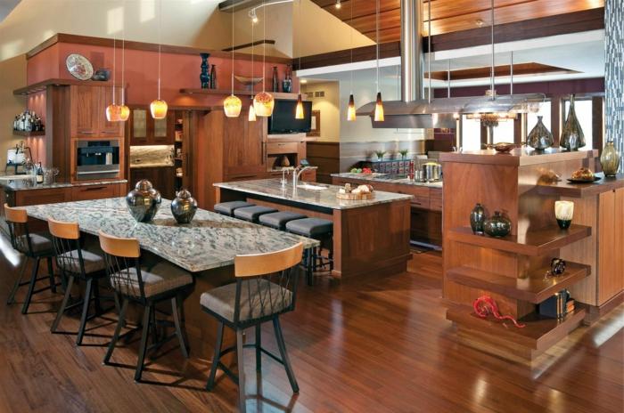 aménagement-de-cuisine-ouverte-belle-cuisine-contemporaine