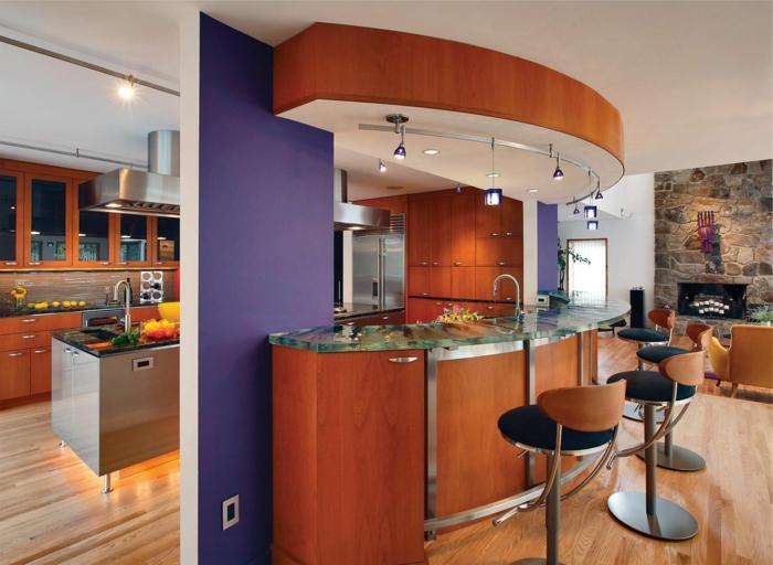 aménagement-de-cuisine-ouverte-cuisine-moderne-bar-en-verre-oval