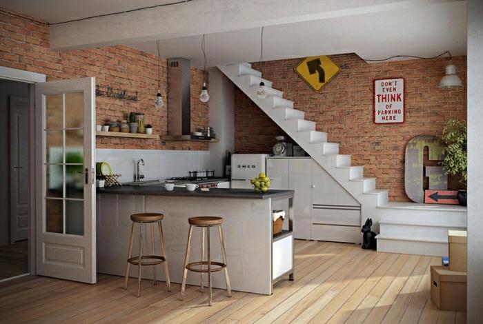Quelques exemples de joli am nagement de cuisine ouverte - Amenagement petite cuisine ouverte ...