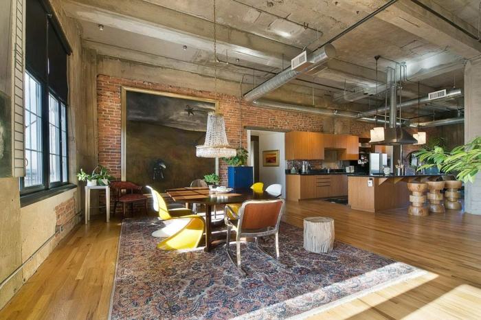 aménagement-de-cuisine-ouverte-esprit-loft-bohémien