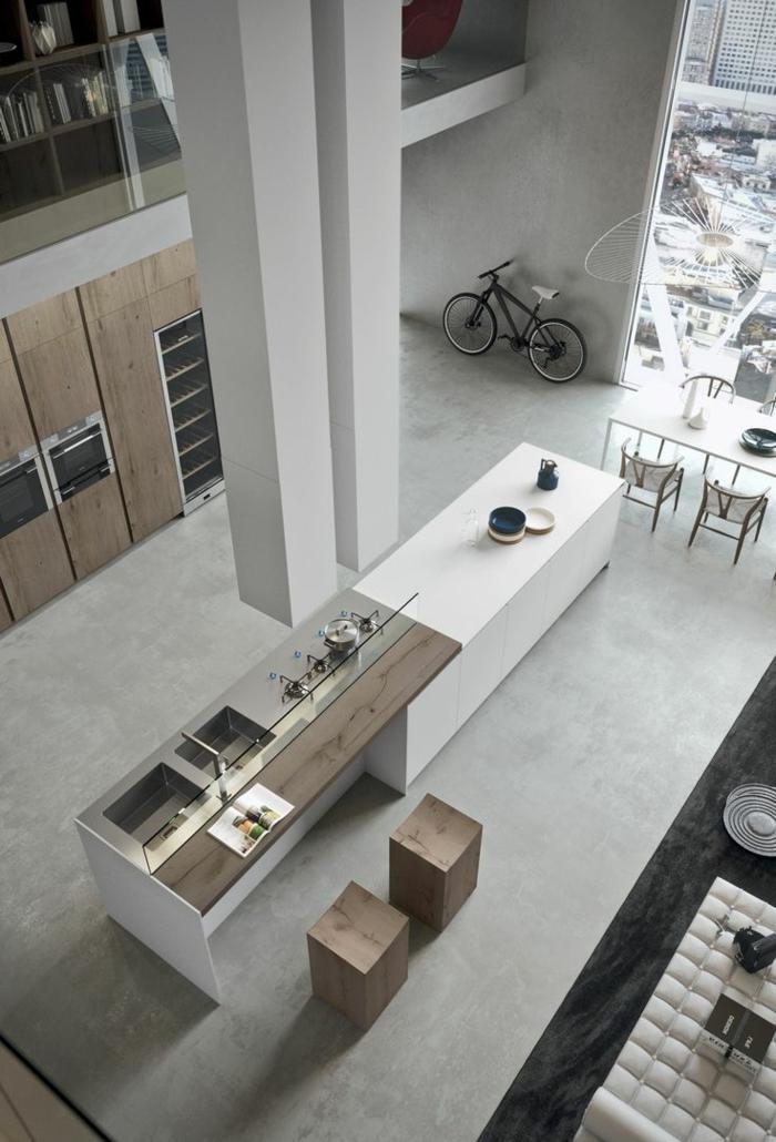 aménagement-de-cuisine-ouverte-intérieurs-à-haut-plafond