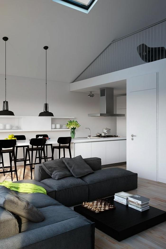aménagement-de-cuisine-ouverte-petit-appartement-moderne