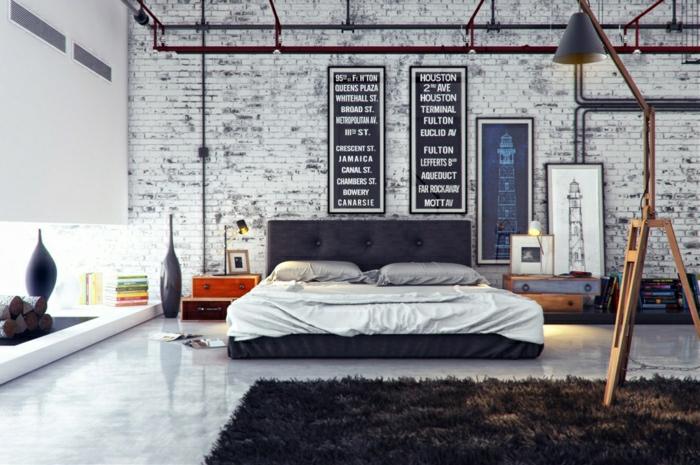 aménagement-meuble-style-industriel-chambre-à-coucher-briques-blancs