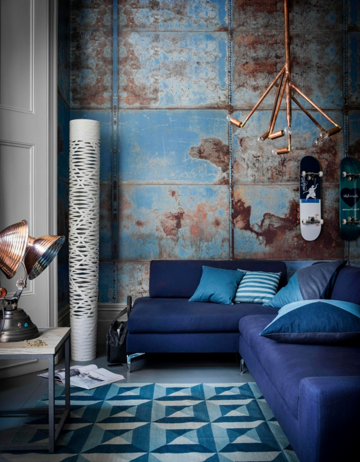 Superbe Lustre Cuisine Pas Cher #9: Aménagement-meuble-style-industriel-chambre-bleu-idée-créative-design.jpg