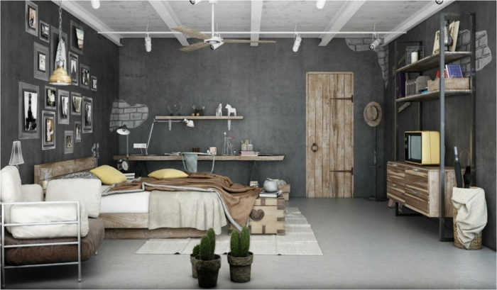 am nagement chambre industrielle. Black Bedroom Furniture Sets. Home Design Ideas