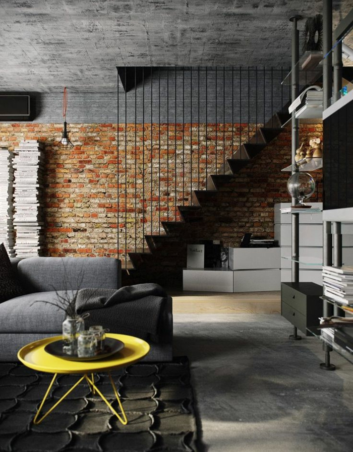 aménagement-meuble-style-industriel-sallon-avec-deux-etages-maisonnette-loft-briques