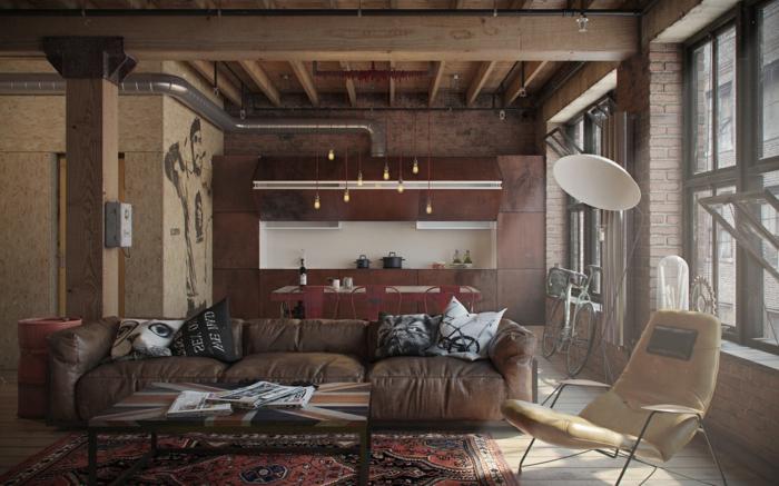 aménagement-meuble-style-industriel-vintage-chaide-ché-sticker-sur-mur