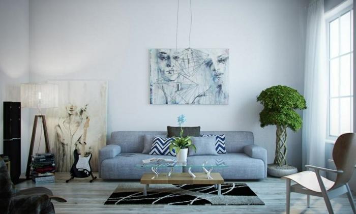 aménager-son-salon-idées-intérieur-déco-en-bleu-clair-salle-de-séjour-artistique