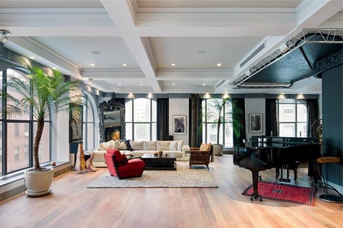 appartement-new-yorkais-chic-loft-la-salle-de-séjour-vaste