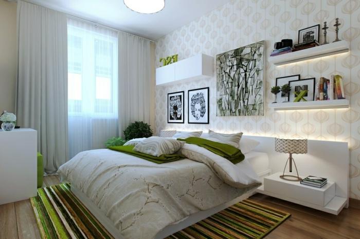 art-abstrait-chambre-à-coucher-étagères-blanches