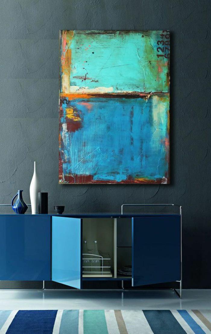 art-abstrait-commode-bleue-vintage