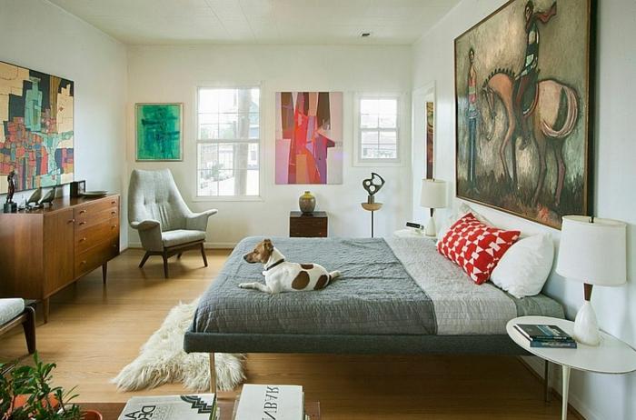 art-abstrait-commode-en-bois-chambre-à-coucher