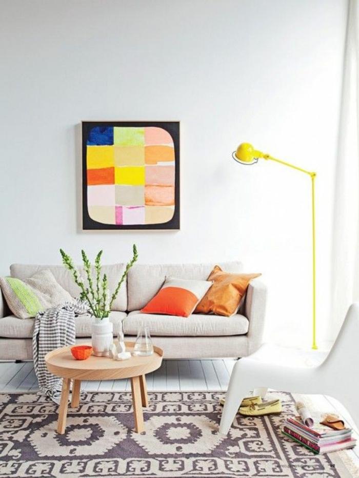 art-abstrait-décor-clair-illuminé-table-basse-scandinave