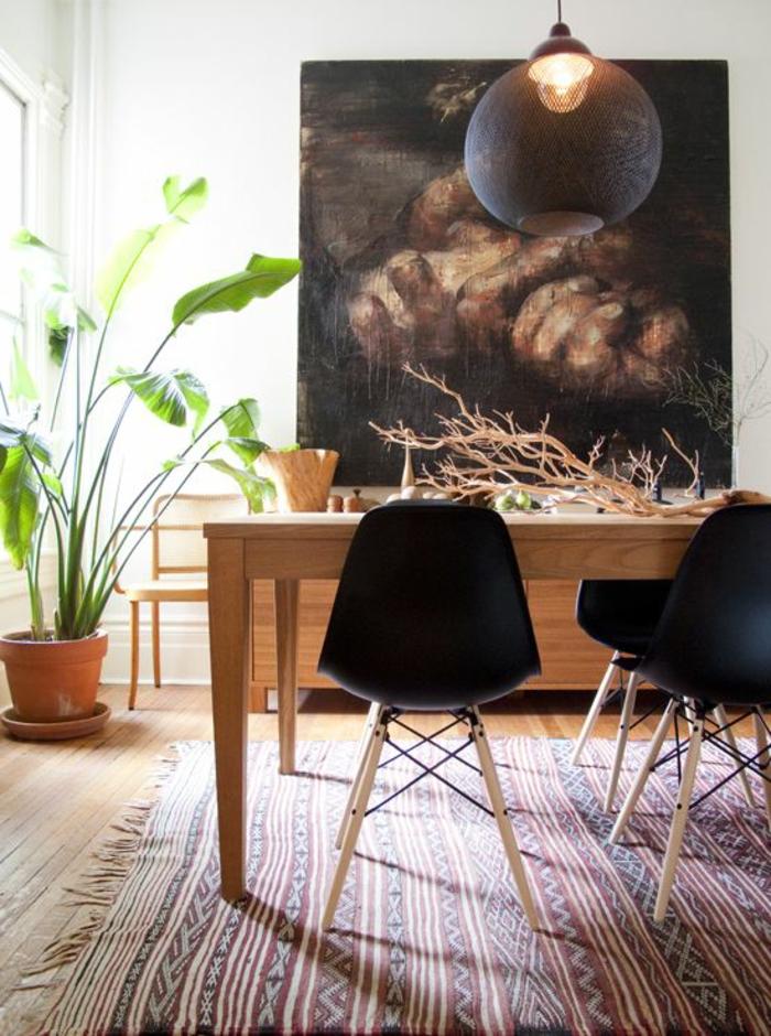 art-abstrait-grande-peinture-en-noir-et-blanc-salle-de-déjeuner
