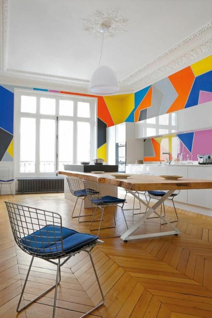 art-abstrait-grande-table-de-déjeuner-art-abstrait-au-mur