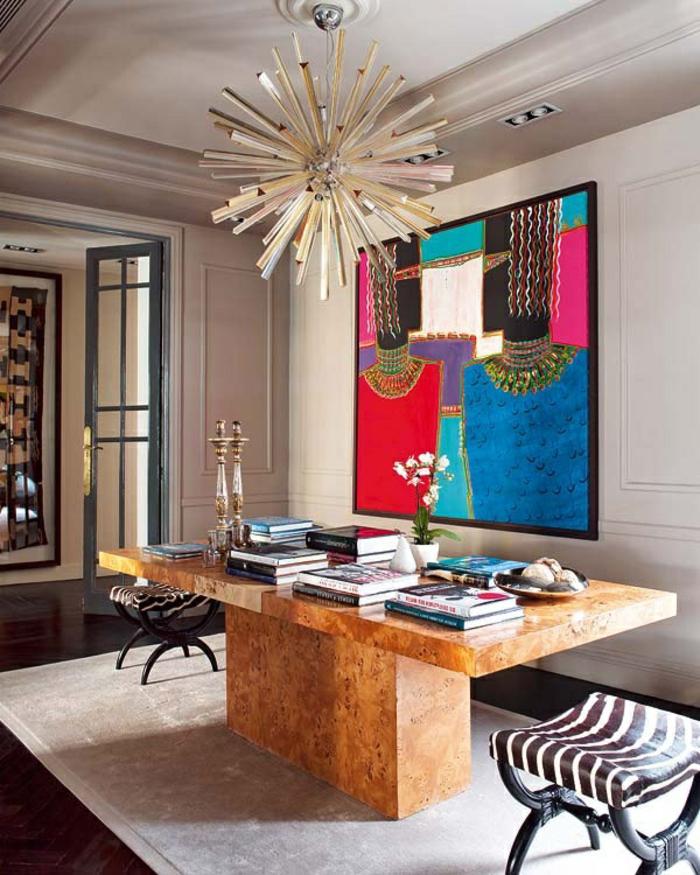 art-abstrait-grande-table-en-bois-massif