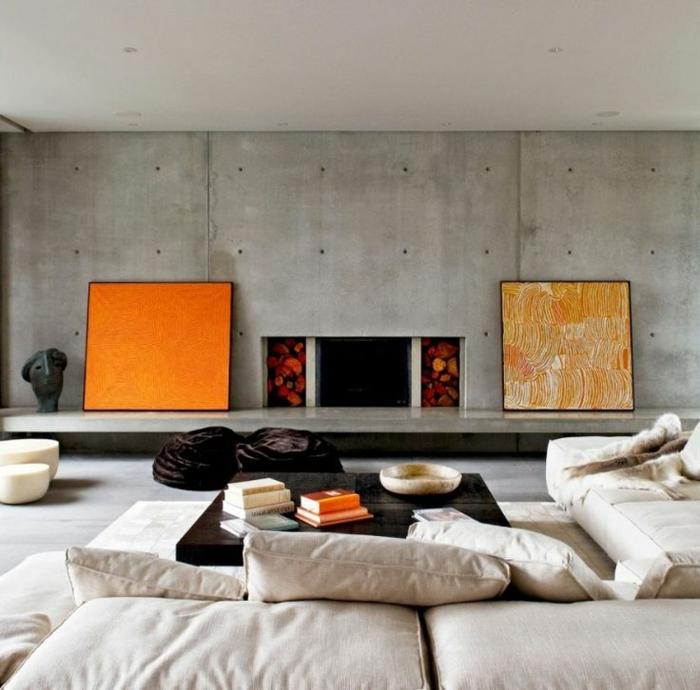 art-abstrait-intérieur-bohémien-béton-peintures-abstraites-oranges