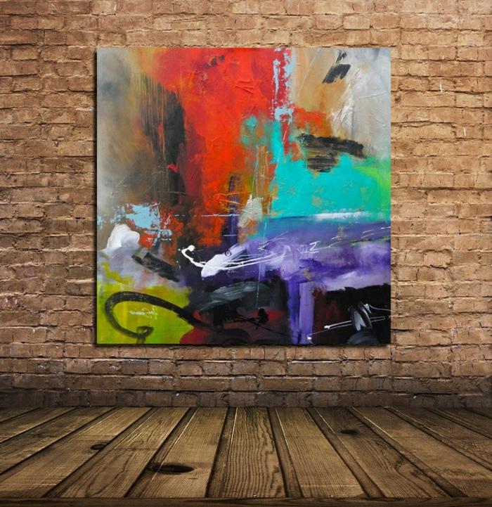 art-abstrait-jolie-peinture-abstraite-sur-un-mur-en-briques
