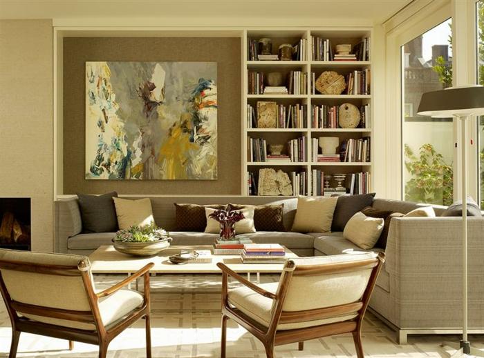 art-abstrait-séjour-en-couleurs-taupes-et-art-abstrait-peinture