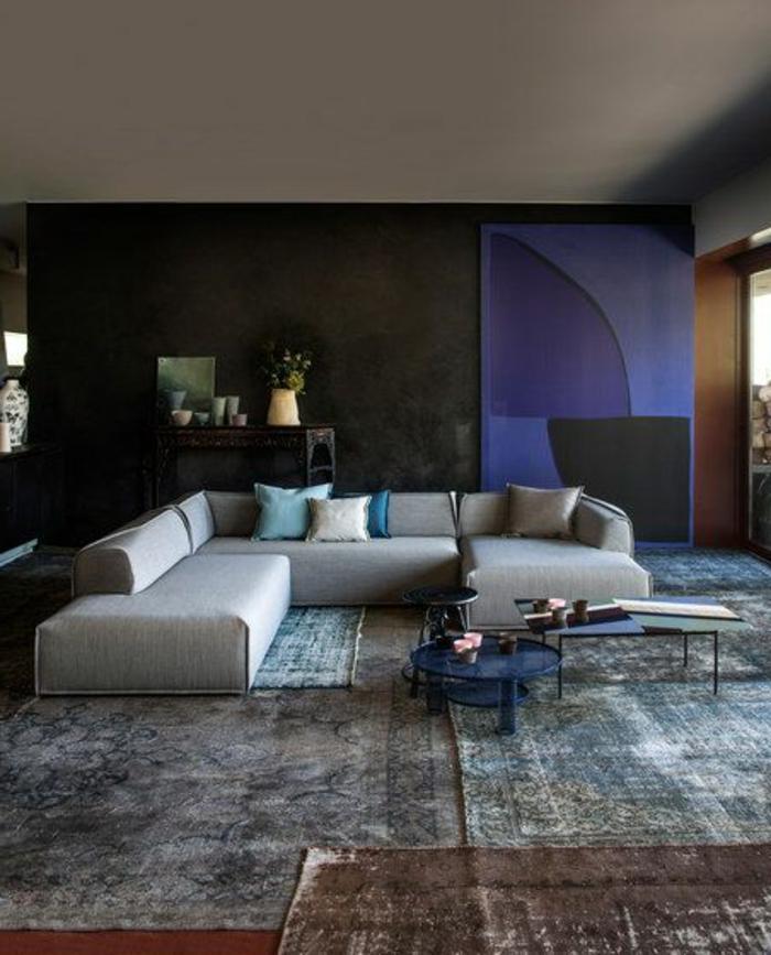 art-abstrait-séjour-minimaliste-sofa-modulable