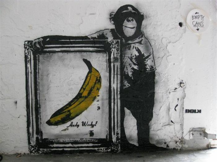 art-pochoir-street-art-tableau-banana-andy-warhol