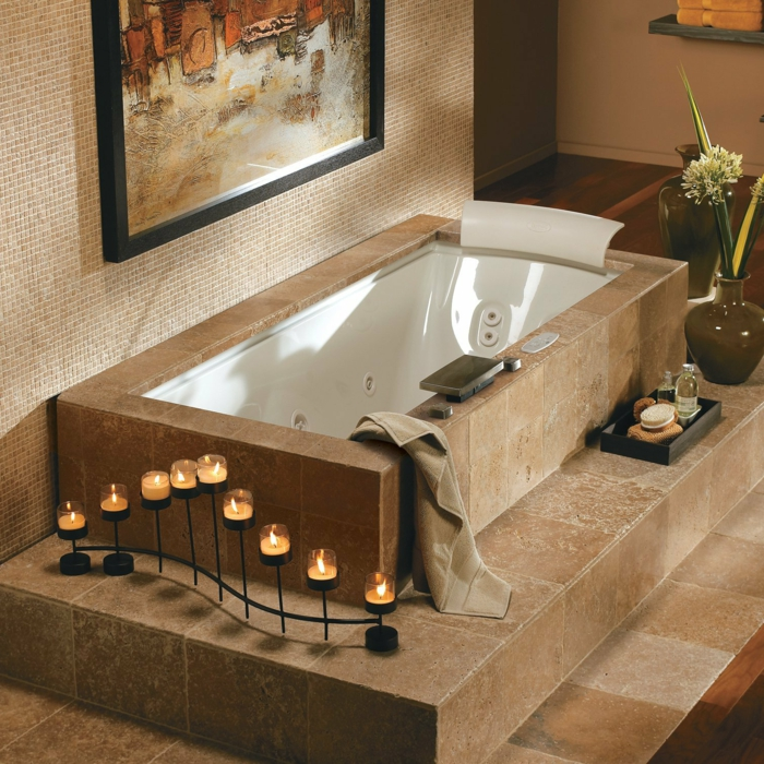 baignoir-jacuzzi-baignoire-angle-balnéo-design-moderne-bougies-beige