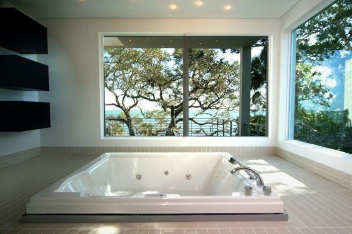 baignoir-jacuzzi-baignoire-angle-balnéo-design-moderne-vue-arbres