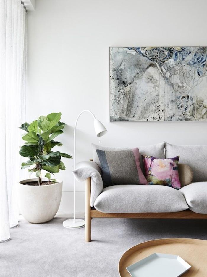 canapé-gris-coussins-décoratifs-meubles-scandinaves-interieur-scandinave-meubles