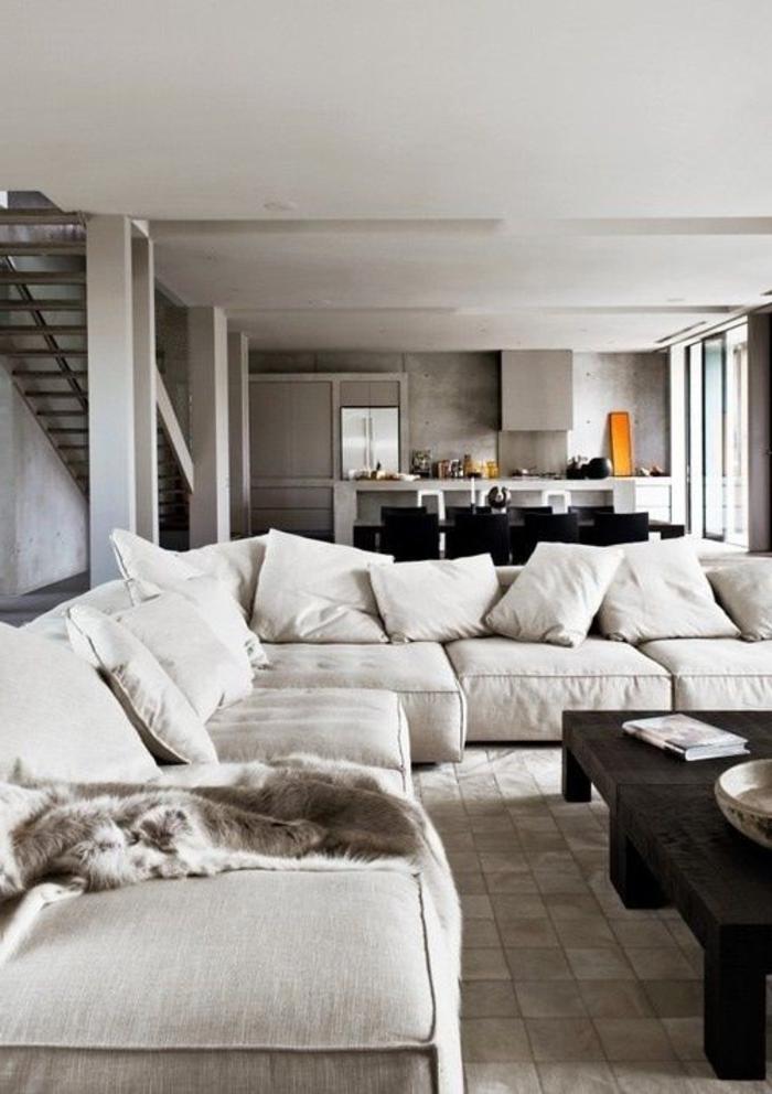 canapé-gris-coussins-décoratifs-meubles-scandinaves-interieur-scandinave-moderne