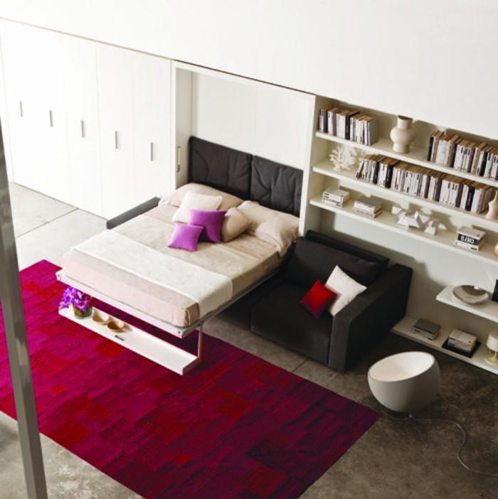 canapé-lit-ikea-meubles-chambre-a-coucher-lit-pliant-tapis-rouge