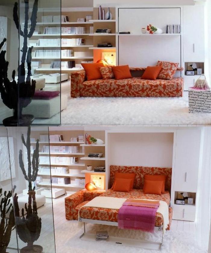 canapé-lit-ikea-meubles-salle-de-séjour-lit-d-appoint-pliant-canapé-orange