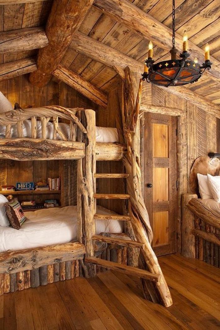 Décoration Chambre À Coucher Faux Plafond : chalet-en-bois-en-kit-intérieur-en-bois-massif-sol-en-parquet-chalet …