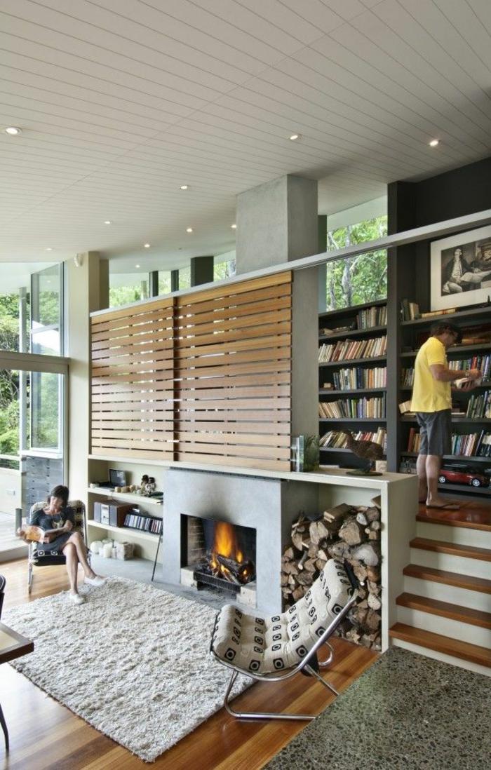 chalet-en-bois-habitable-sol-en-parquet-salon-moderne-tapis-beige-salon-vaste