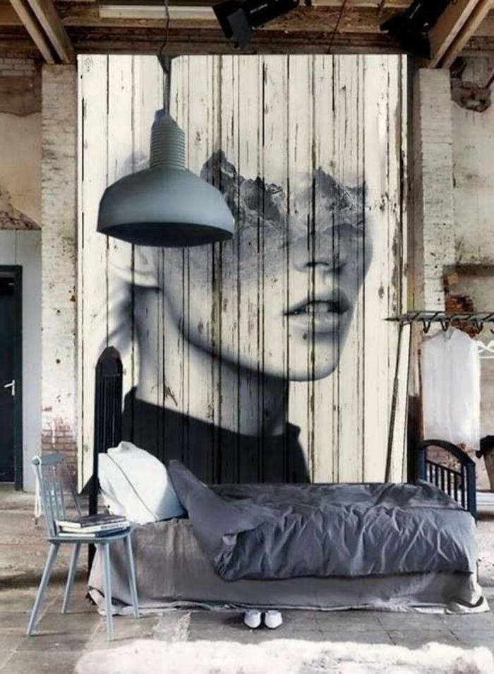 Exemple Peinture Chambre Adulte : Chambre artistique avec peinture sur le mur à l'effet double …