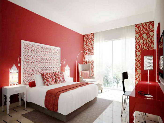 chambre mur rouge et blanc. Black Bedroom Furniture Sets. Home Design Ideas