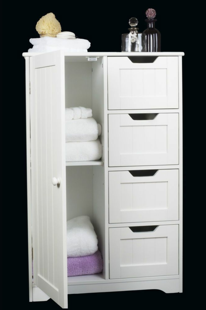 Le meuble colonne en 45 photos qui vont vous inspirer for Petit meuble de salle de bain blanc