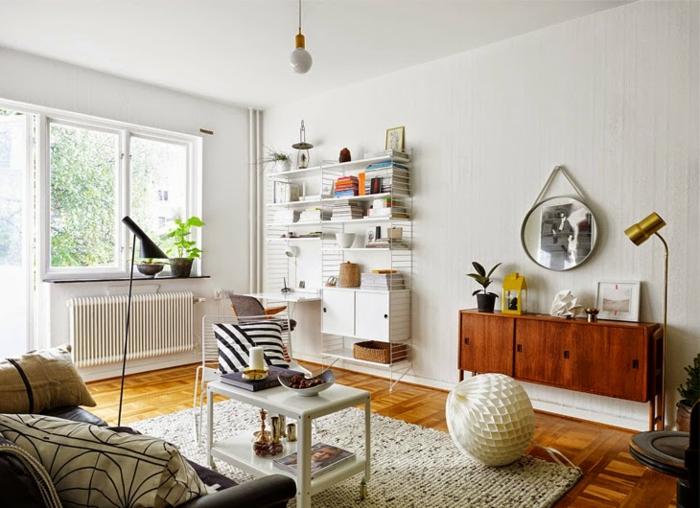 commode-en-bois-foncé-étagère-murale-blanche