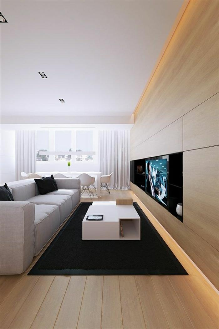 console-meuble-tapis-noir-sol-en-plancher-canapé-beige-table-en-bois-clair