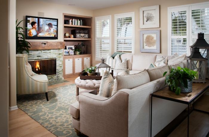 couleur-cappuccino-peinture-idée-créative-déco-salle-de-séjour-confort
