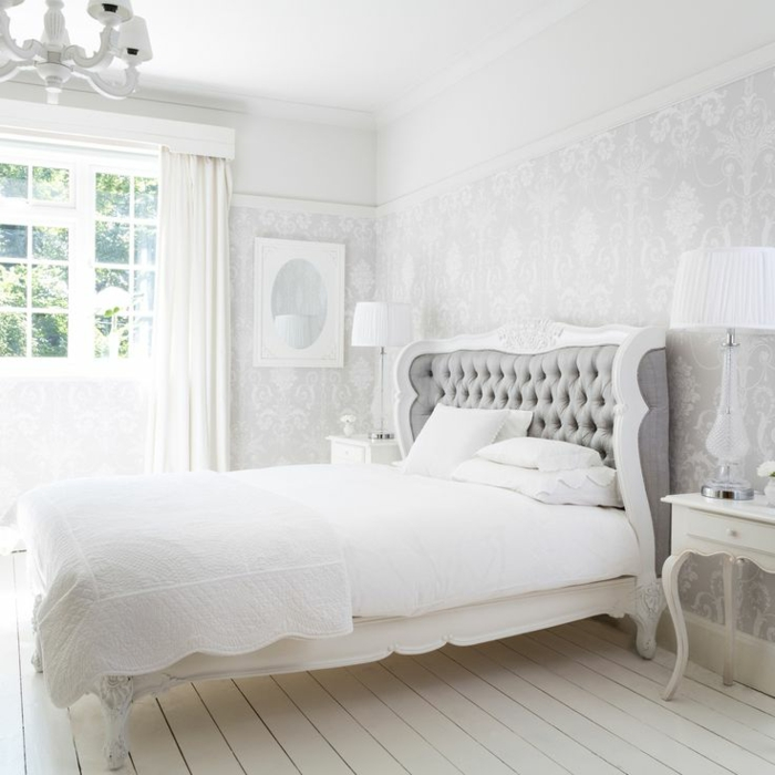 D co chambre adulte blanc for Photo deco chambre a coucher adulte