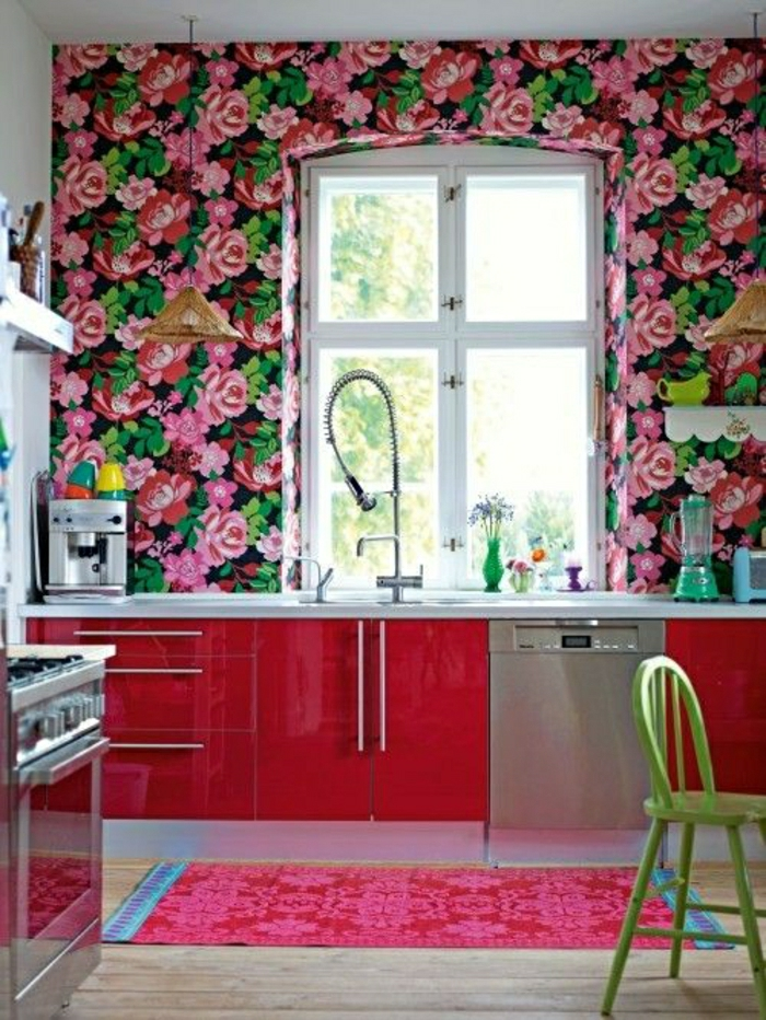 Choisir quelle couleur pour une cuisine - Meuble de cuisine rose ...