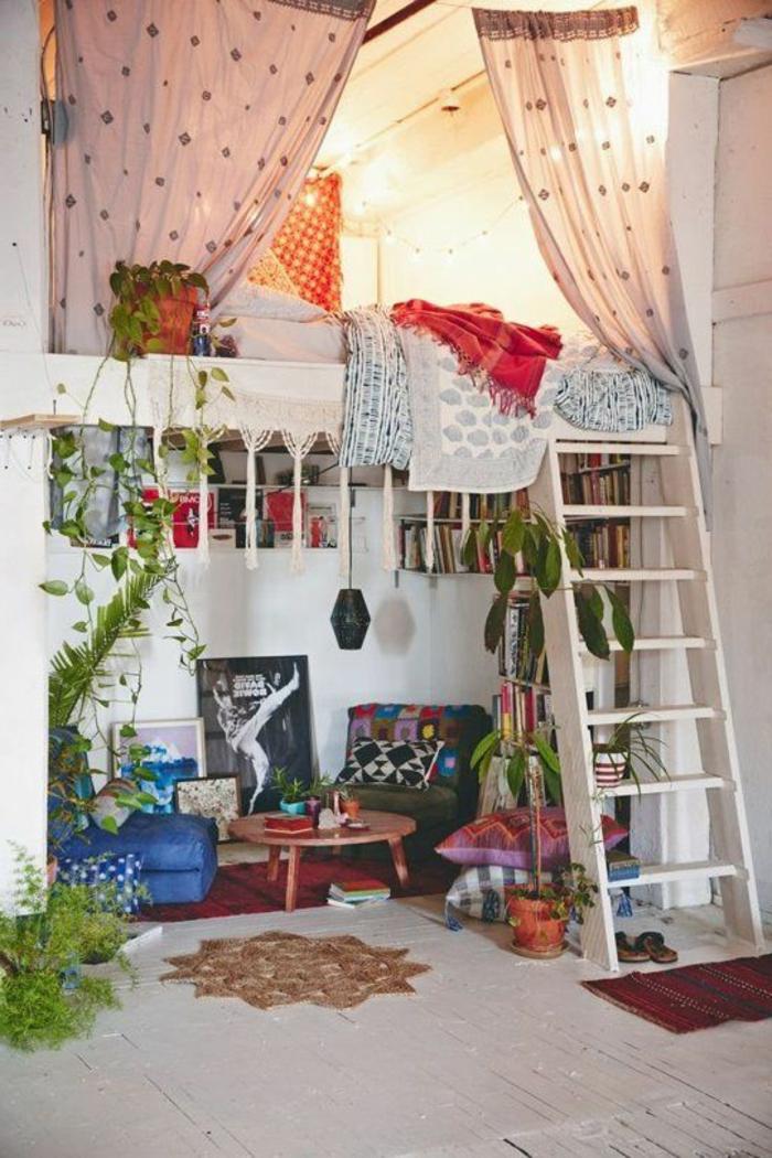 Couleur Chambre Bébé Tendance : décoration-chambre-adulte-style-hippe-echelle-livres