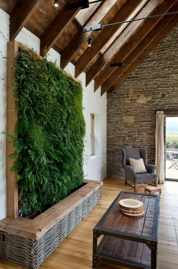 décorer-l-entrée-avec-gazon-synthétique-pour-les-murs-plafond-sous-pente-décoration-pelouse-synthetique