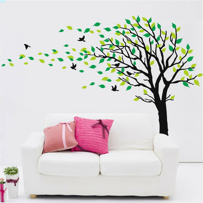 Le pochoir mural 35 id es cr atives pour l 39 int rieur for Pochoir arbre