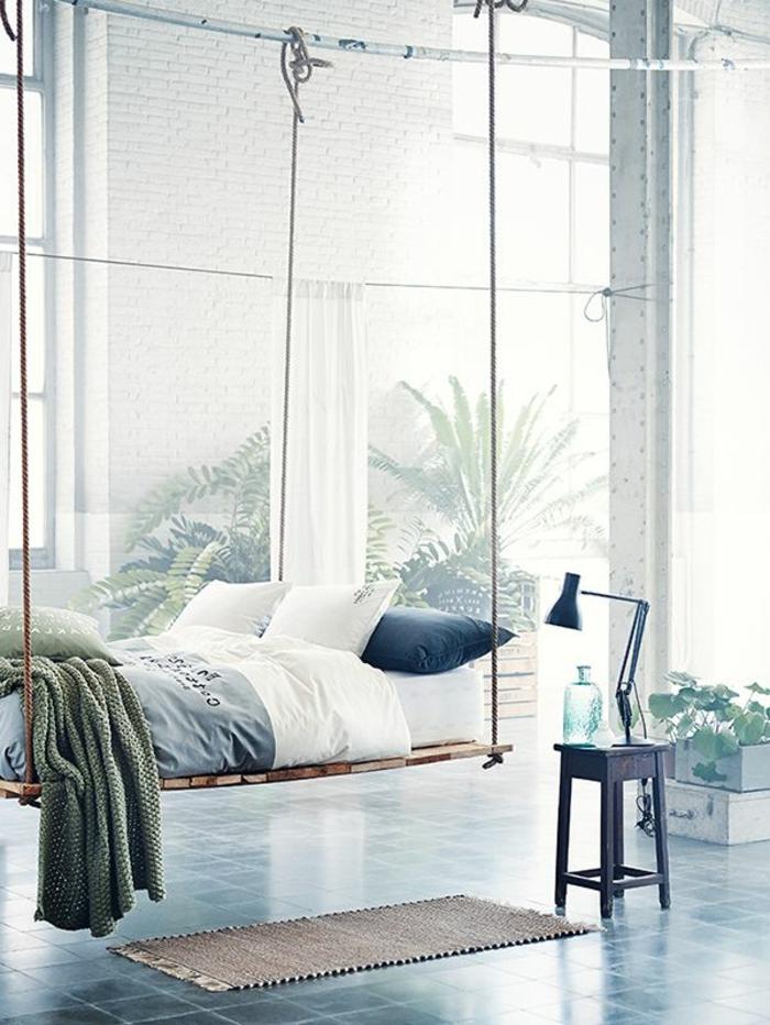 deco-chambre-adulte-idée-originale-balançoire-lit-originale