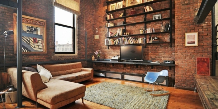 La deco loft new yorkais en 65 images - Salon americain ...